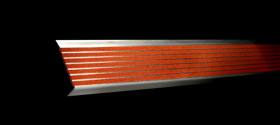 series 300 stair nosing, our red version on black bacakground.