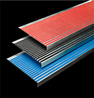 series 500 stair treads, featuring the colors of red, black and blue.