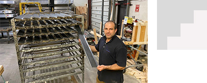 one of our employees holding an anti-slip series 500 stair nosing