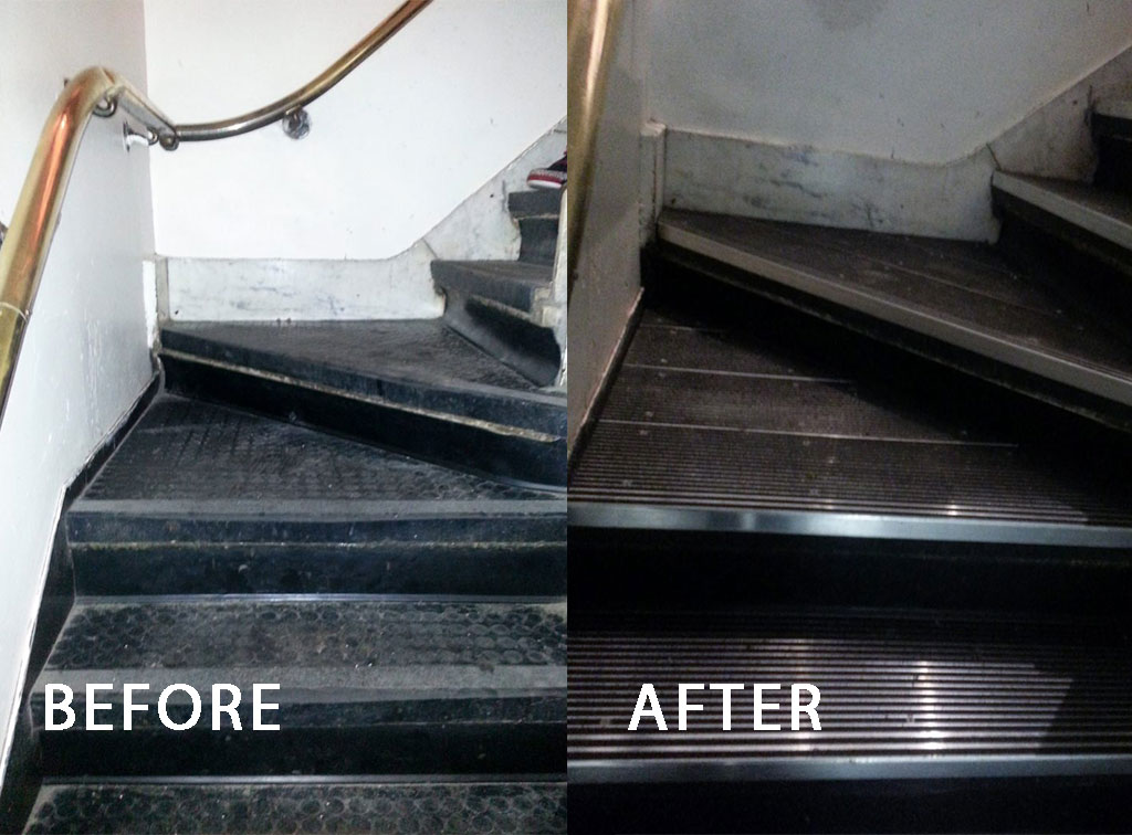 a before and after view of the improvement our stair nosing and stair treads at food and beverage