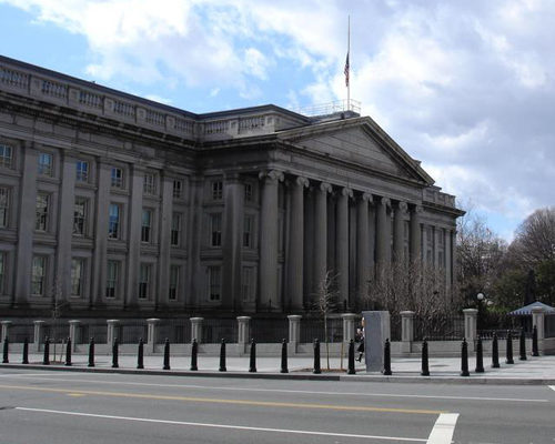 and exterior shot of a government building.