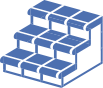 blue icon of stairs on transparent background depicting non-slip treads on tile stairs