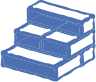 A blue icon on transparent background, representing treads for concrete stairs