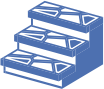 blue icon on transparent background, depicting non-slip and anti-slip treads for masonry stairs