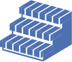 a blue icon on transparent background, depicting non-slip treads for brick stairs