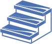 blue icon of stairs on transparent background, representing treads for metal stairs