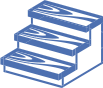 blue icon on transparent background, depicting treads for wood stairs