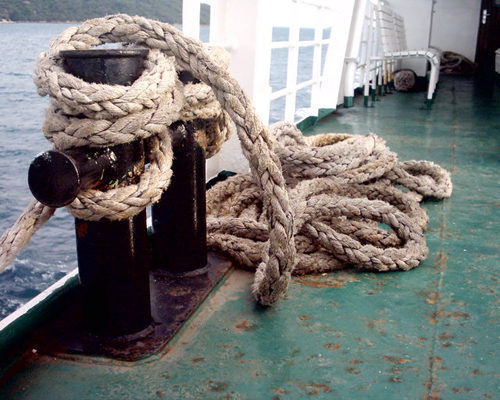 A photo of a boat deck and rope, featuring out anti-slip coatings