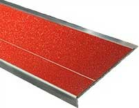 a red stair nosing example of our anti-slip nosings, a part of our get a quote cta, mirrored facing to the right