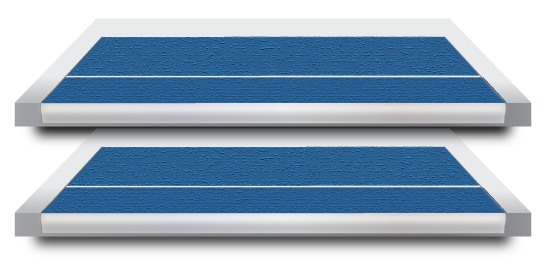 An example of a blue Stair Tread, that provide full-tread protection across the entire step.