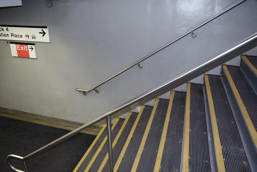Stamford train stairway, with our high-visibility sightline stair treads